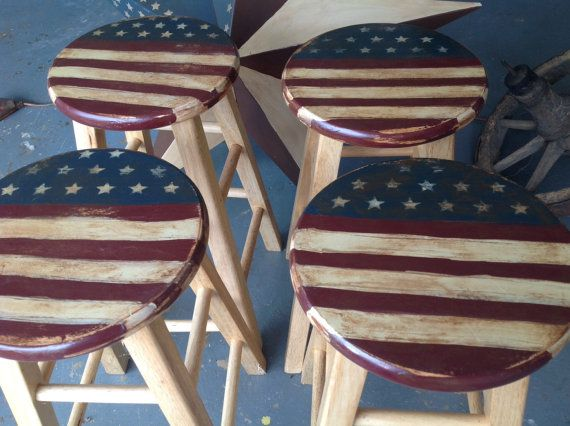 Set of four Americana painted stools measure by RedPonyofChesnee