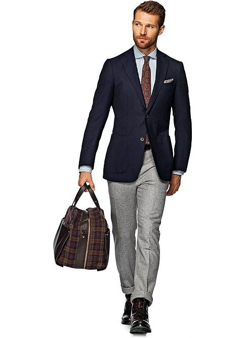 Navy Blazer + Grey Pants + Striped Shirt