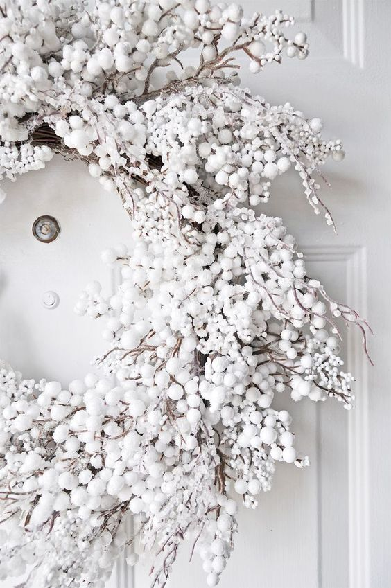 This gorgeous white wreath is just perfect for a white Christmas, even if you just want to pretend that you have some snow & the cold temperatures for one!
