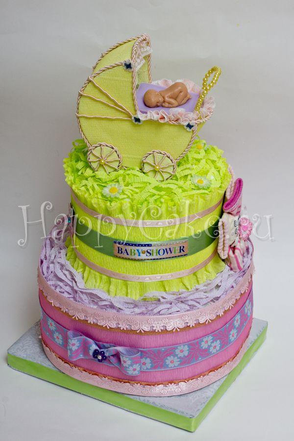 Подарок новорождённому- торт из памперсов (подгузников), памперсный торт. Оригинальный и полезный подарок для малыша и мамы.
