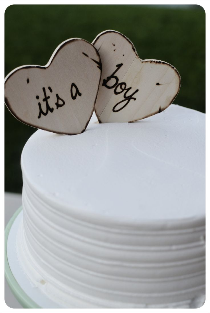 Baby Shower Cake Toppers for Rustic Natural Eco Baby Shower It's a Boy It's a Girl on Wood Hearts - SO Sweet. $16.99, via Etsy.