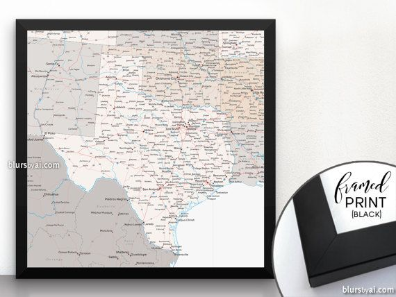 Framed map of Texas, Texas map, Texas state map with cities and roads, square map, black frame map, state of Texas map print.   MAP175 101