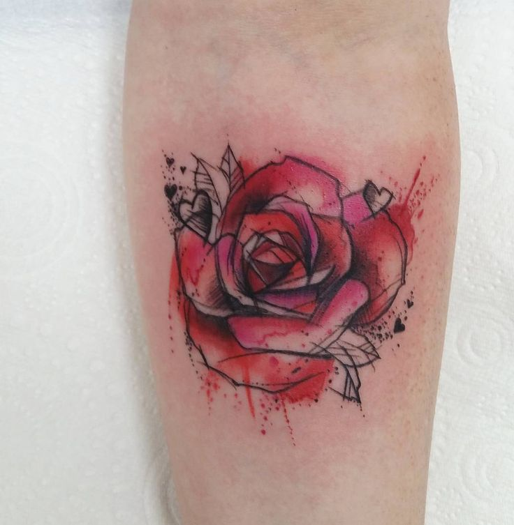 """""""Nice little rose to start my morning #tattoo #watercolor #sketch…"""