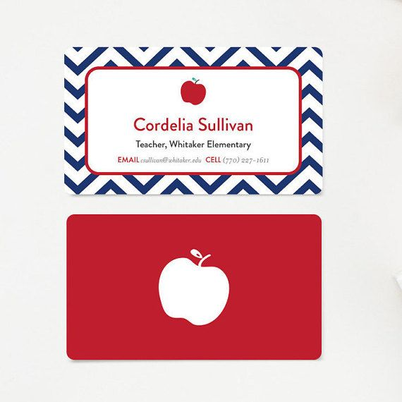 Professeur carte de visite, cartes de visite, carte de maman, cadeau pour les enseignants, papeterie, carte de visite éducateur, tuteur Chevron bleu marine et rouge pomme