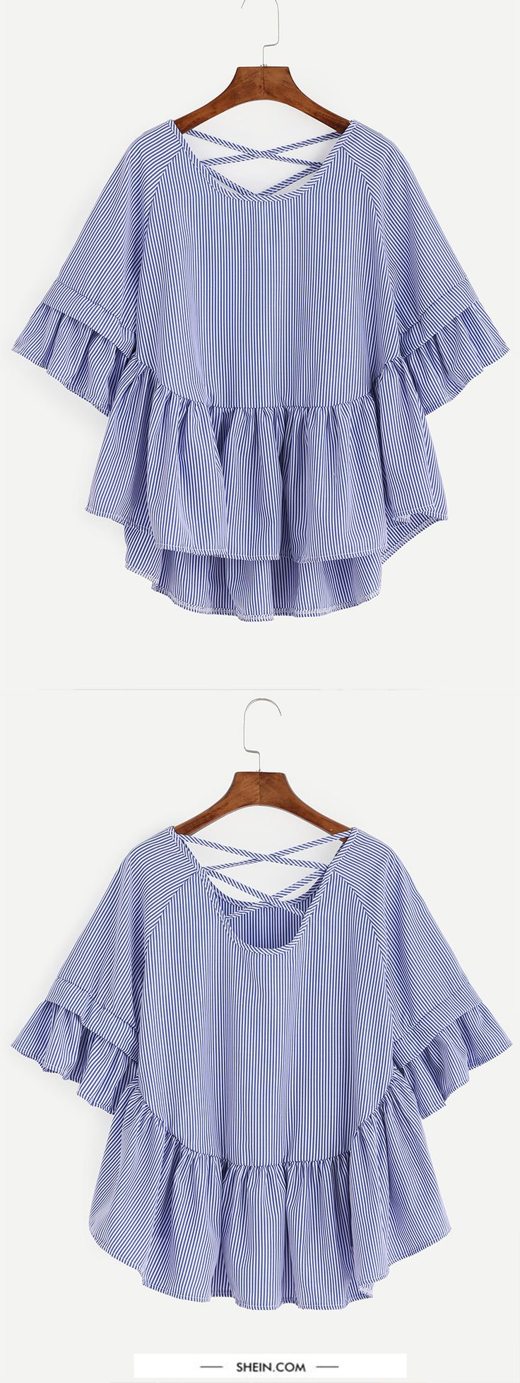 Blue Striped Criss Cross Back Ruffle Blouse