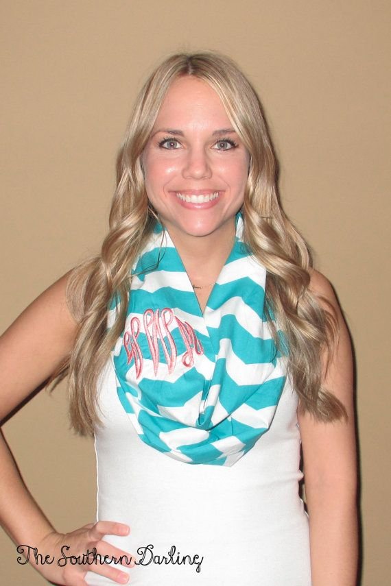 Monogrammed Aqua Chevron Infinity Scarf, via Etsy thought of you @McKenzie Brown. Its the best of both of us lolchevron and mongrams!