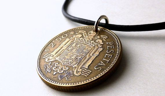Coin necklace Spain Coin pendant Coin jewelry by CoinStories