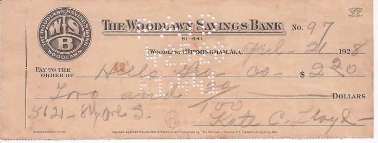 Vintage 1928 WOODLAWN SAVINGS BANK Birmingham, AL Cancelled Bank Check