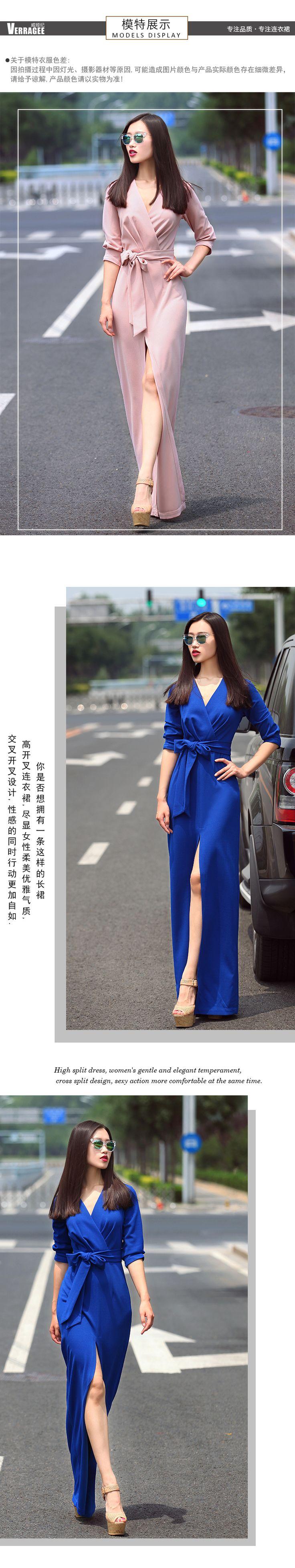 Verragee Femmes D'été Automne Longue Robe De Mode V Cou Sexy Split Bleu Mince Robe Parti Robes Longues Maxi Plus La Taille robe dans de sur AliExpress.com | Alibaba Group