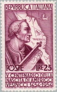 Portrait of Amerigo Vespucci and map