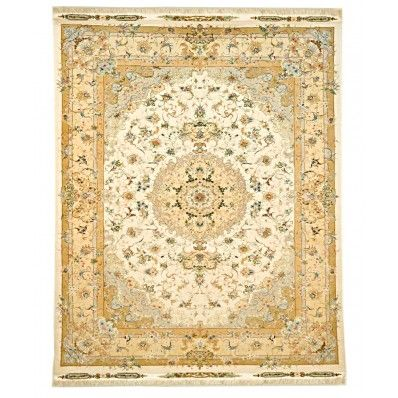 Persian Tabriz golden color beautiful rug for sale from woven treasures rugs in Melbourne. Persian Traditional Collection - Silk foundation fine select kork wool pile and silk pile exceptional quality French influenced design. POA.  #house #home #design #rugs #carpets