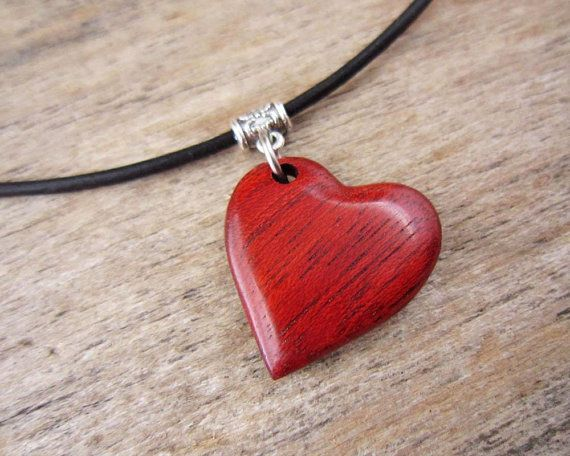 Naturally Red Heart Necklace Wood Heart Shaped Pendant With Simple Leather Necklace Hand Carved Wood Red Heart Jewelry Wood Heart Necklace Pendants Wood Hearts
