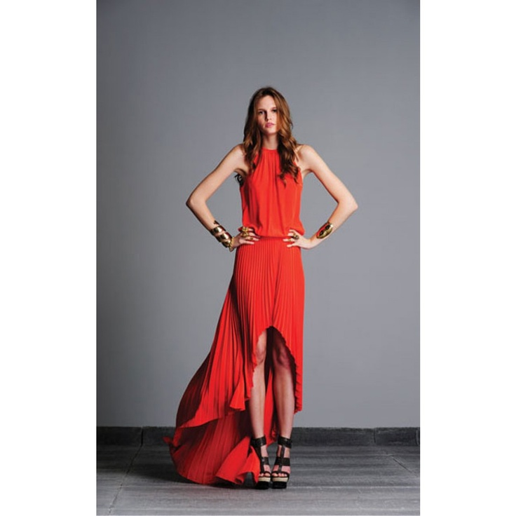Alexis Long red pleat dress from @Jennifer Sweigart Swimwear. TO DIE for