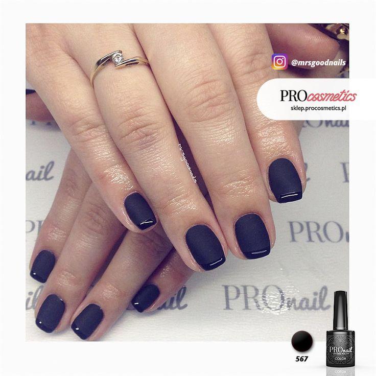 Czarny french manicure - paznokcie hybrydowe czarne matowe PROnail 567 Paznokcie Wrocław Karolina Ryniec