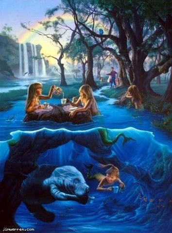 Wyland Gallery artist Jim Warren Mermaid Tea Party