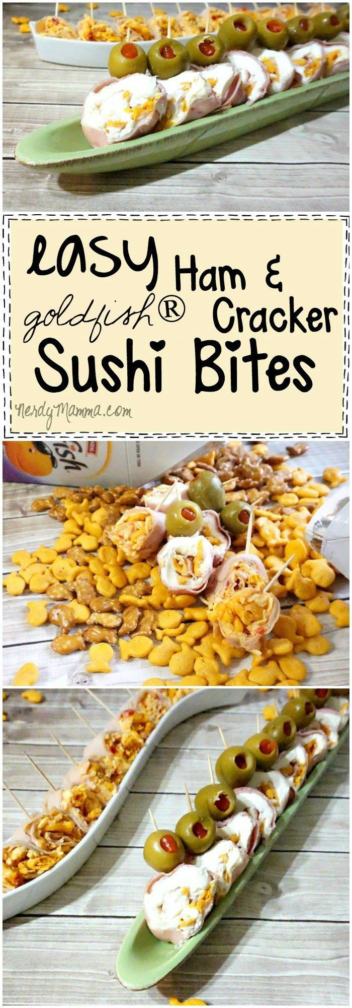 I love this recipe for Easy Ham and Goldfish® Cracker Sushi Bites...so cute! And the kids will just love 'em. I know I do. AD #GoldfishMix #Walmart #cbias
