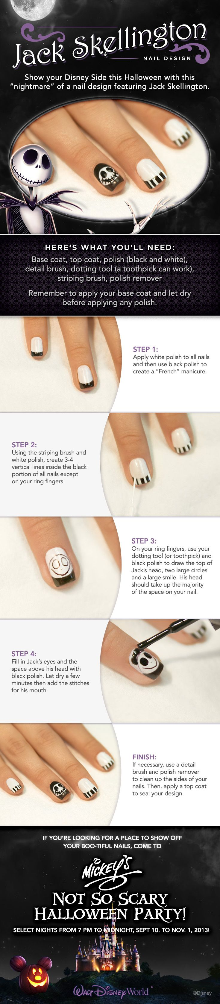 Show your #DisneySide this Halloween with this nightmare of a nail design featuring Jack Skellington!