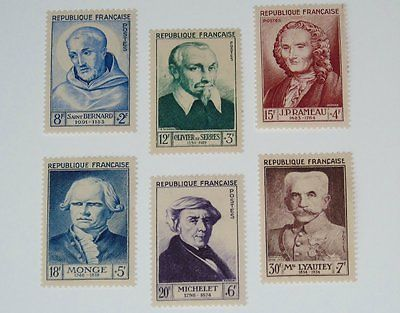 Stamp Pickers France 1953 Portraits Semi-Postal Set Scott #B276-B281 MH $56