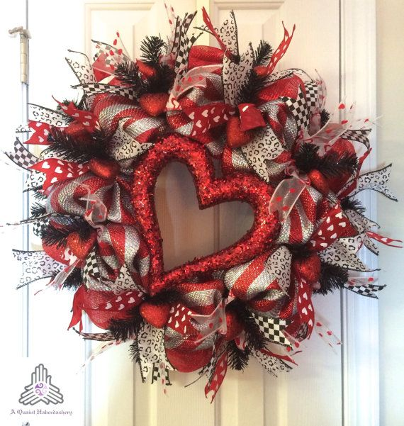 Valentine's Day Silver/Red Deco Mesh Wreath by AQuaintHaberdashery, $115.00