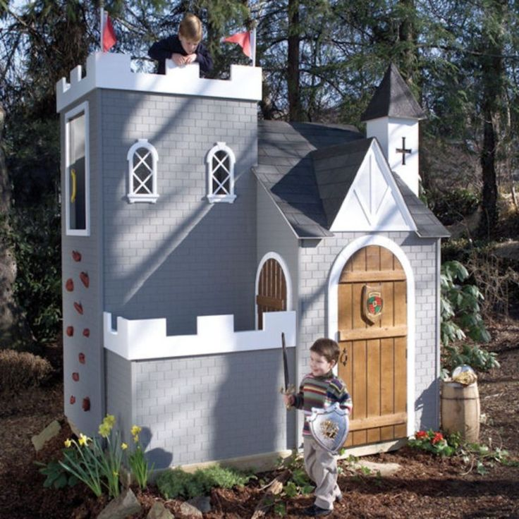 fine 46 Fabulous Backyard Playhouses to Delight your Kids http://godiygo.com/2017/12/19/46-fabulous-backyard-playhouse-delight-kids/