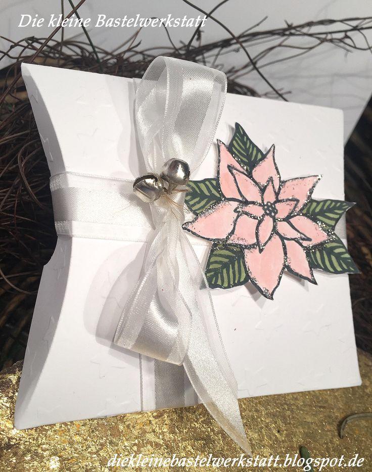 Pillox-Box, Weihnachten, Verpackung, Weihnachtsstern, Stampin up, Glöckchen, Glocken, festliche Blüte, Colorieren