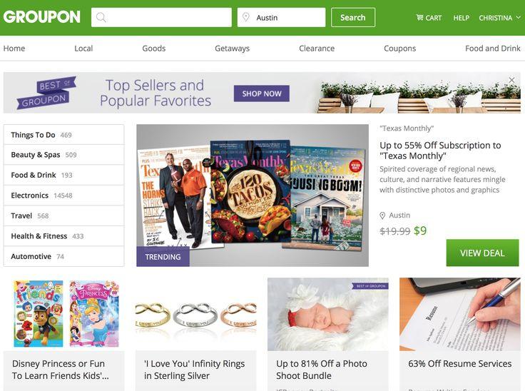 General Layout - groupon Interactive I 60 Things Pinterest - groupon resume