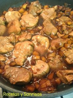 Solomillo de cerdo con salsa Teriyaki , manzana , cebolleta y pasas. Receta paso a paso http://recetasysonrisas.blogspot.com.es/2014/06/solomillo-de-cerdo-con-salsa-teriyaki.html #food #recipe #tutorial #meat #sauce #Teriyaki #apple