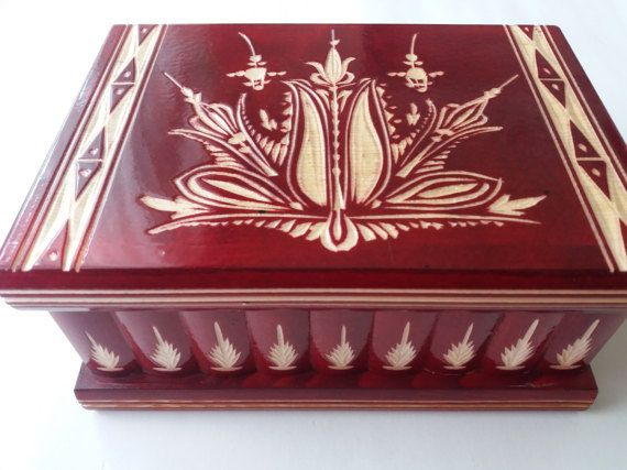 New Big,huge red wooden puzzle box,secret box,magic box,jewelry storage box,wooden case,beautiful handcarved box unforgetable gift for him
