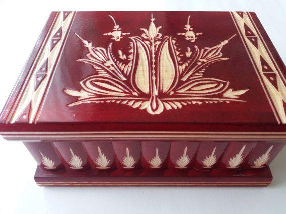 Grande y nueva, caja del rompecabezas madera rojo enorme, caja secreta, caja mágica, caja de almacenaje de la joyería, caja de madera, tallada a mano hermosa caja de regalo inolvidable para él