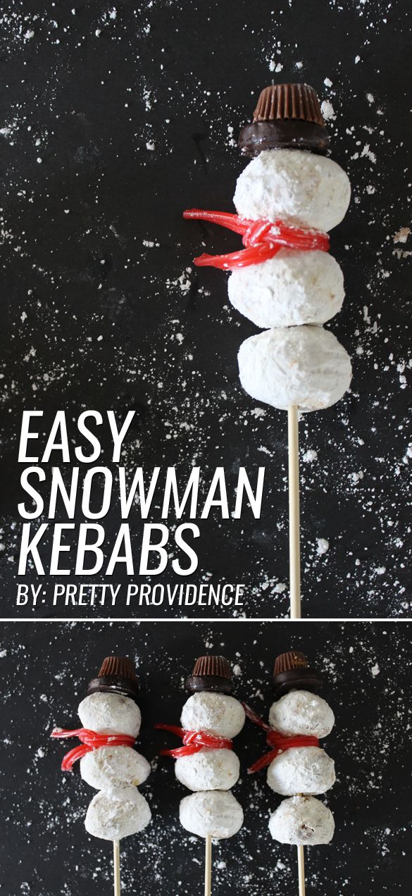 These easy snowman kebabs are beyond adorable! Your little ones will love you for this delicious winter treat! Gotta love festive AND easy! MichaelsMakers Pretty Providence