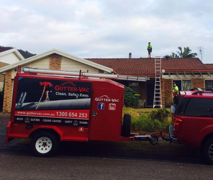 Noel from Gutter-Vac Wyong busy on a job! Gutter-Vac Wyong offers professional and courteous vacuum cleaning of commercial and domestic gutters, roofs, solar PV panels, ceiling cavities and downpipes.