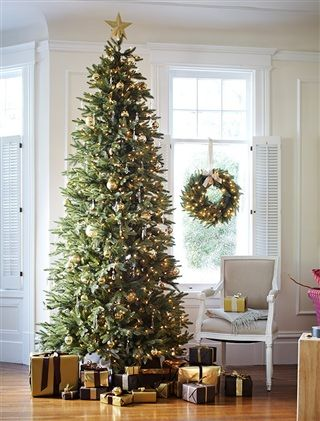 The Silverado Slim Christmas Tree is perfect for narrow spaces with normal to high ceilings.