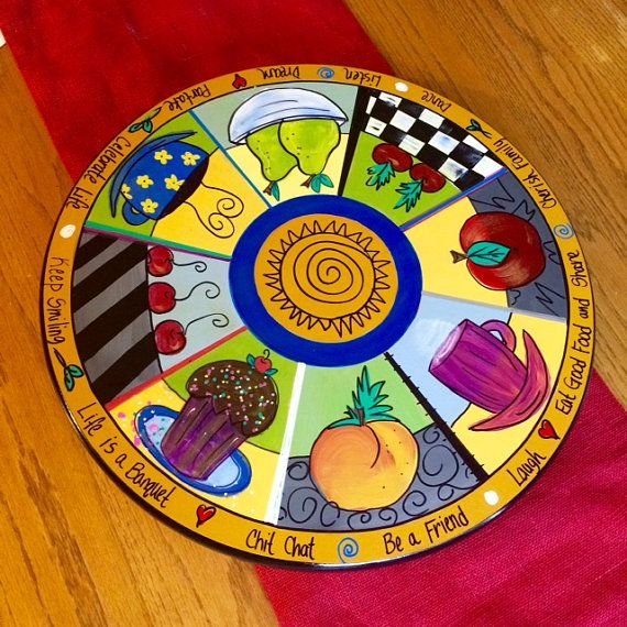 Painted Lazy Susan // Kitchen themed Lazy by MicheleSpragueDesign