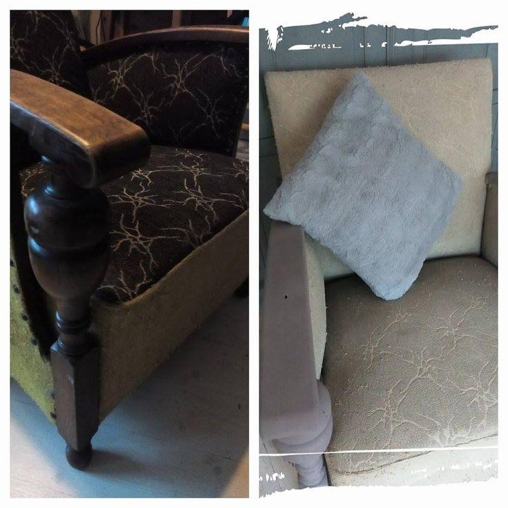 Goedemiddag! Hij is af, een stoel die al jarenlang op de kamer van mijn zonen stond maar nu in de nieuwe keuken in de buurt van de Aga komt te staan! De bekleding is met Versailles gedaan en het hout met French Linen. En ik vind het erg leuk dat het patroon van de stof nog te zien is. Groetjes Marianne.