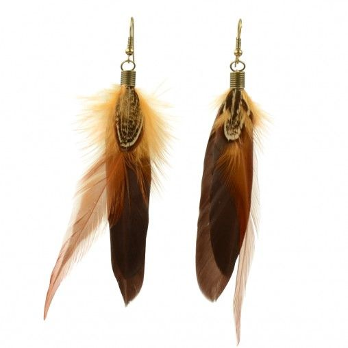SACHA // Feather earrings € 4,95 #brown #feathers #earrings #fashion