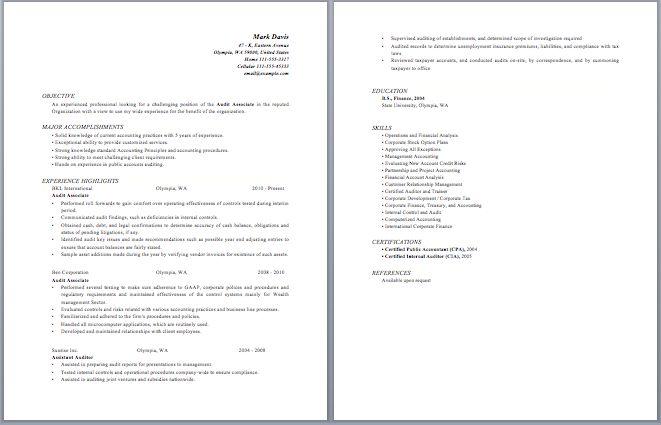 Audit Associate Resume
