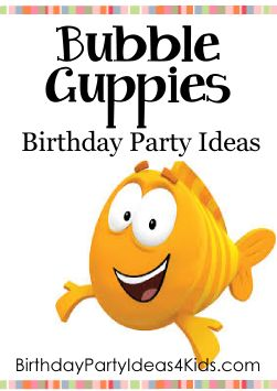 Bubble Guppies Birthday Party Ideas Fun ideas for a Bubble Guppies party!  Bubble Guppies themed party games, activities, party food ideas, decorations, invitations and more!   Great for kids 1, 2, 3 and 4 years old!   http://www.birthdaypartyideas4kids.com/bubble-guppies-party.html #bubbl3 #guppies #party