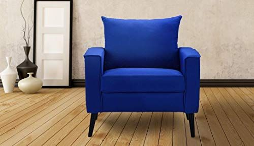 Best Lovelabel Blue Color Mid Century Fabric Accent Chair Linen 400 x 300