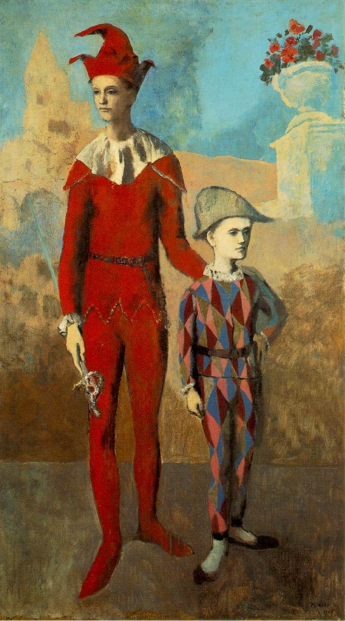 """Pablo Picasso ACROBAT AND YOUNG HARLEQUIN 1905, o/c, 74 7/8 x 42 5/8"""", Barnes Foundation, PA ROSE PERIOD"""