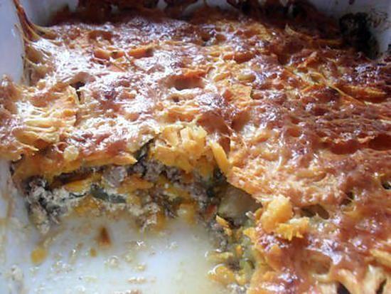 La meilleure recette de Gratin de patates douces, courgettes et viande hachée…