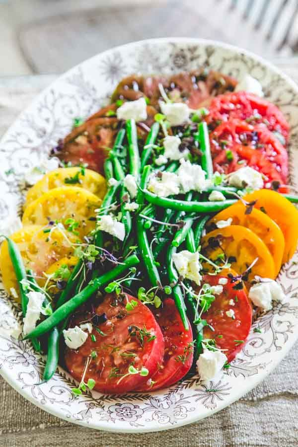 heirloom tomato salad with green beans and chevre