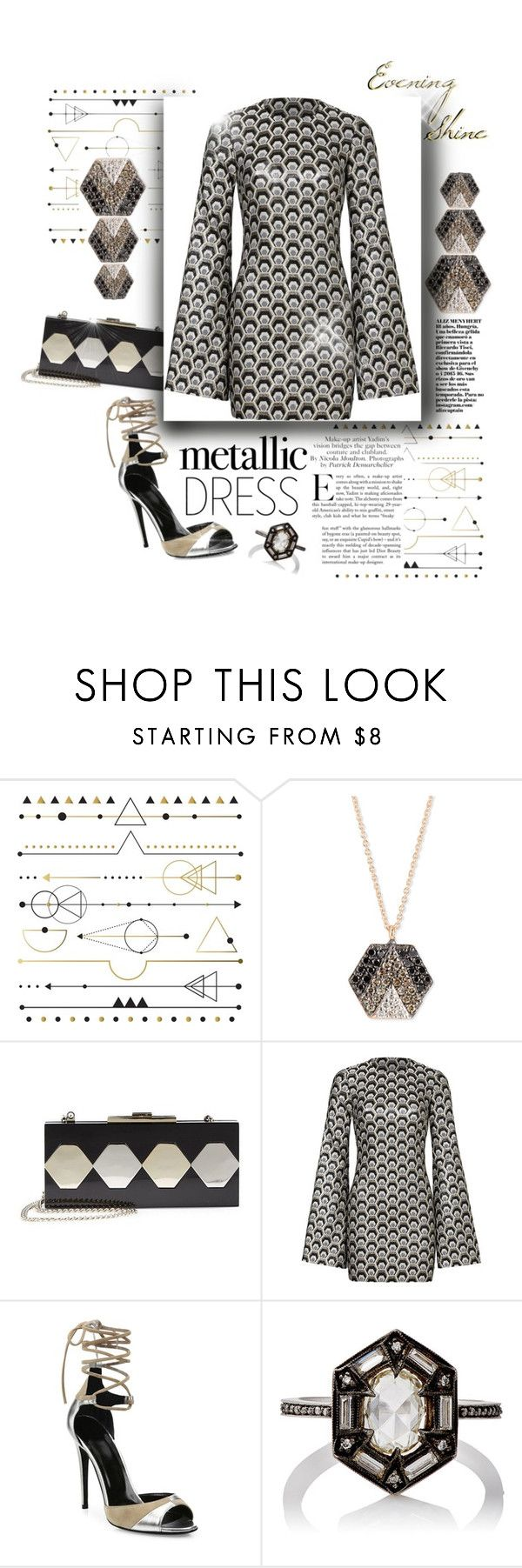 """""""Evening Shine"""" by mmk2k ❤ liked on Polyvore featuring Paperself, Kismet by Milka, Libertine, Halston Heritage, Rubin Singer, Pierre Hardy, Cathy Waterman, dress, metallic and metallicdress"""