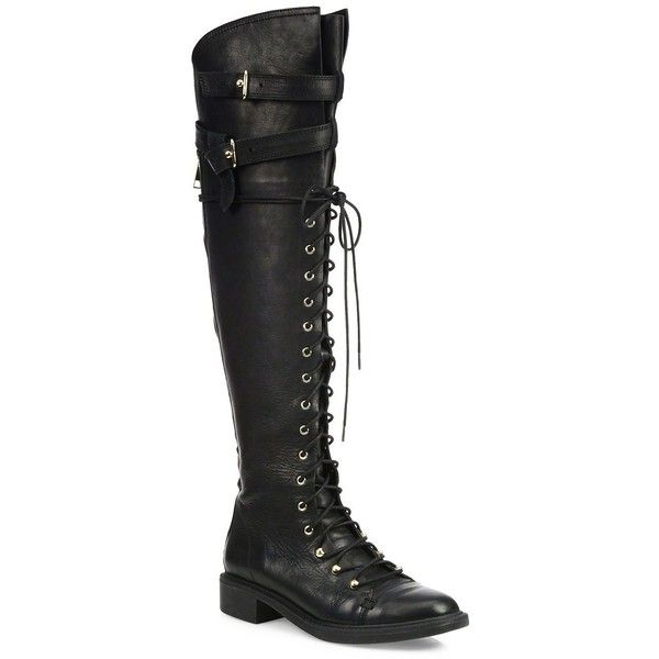 Joie Gryffin Tall Leather Combat Boots (736 CAD) ❤ liked on Polyvore featuring shoes, boots, apparel & accessories, black, knee high lace up boots, black military boots, tall black boots, black knee-high boots and combat boots