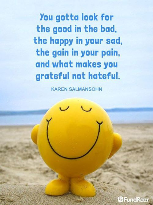 Positivity #49: You gotta look for the good in the bad, the happy in your sad, the gain in your pain, and what makes you grateful not hateful. - Karen Salmansohn