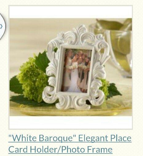 White Baroque Photo Frame - Place Card, Wedding Favour