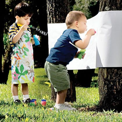 """Summer fun!  Using bubbles to """"paint"""".  Try out this bubble burst paint technique with your children."""