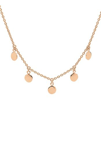 Pastiche Gypsy Moon Rose Gold Womens Necklace. A timeless necklace crafted from polished 14k rose gold plated sterling silver and designed with five delicate circle pendants hanging delicately off a matching rose gold plated sterling silver chain.