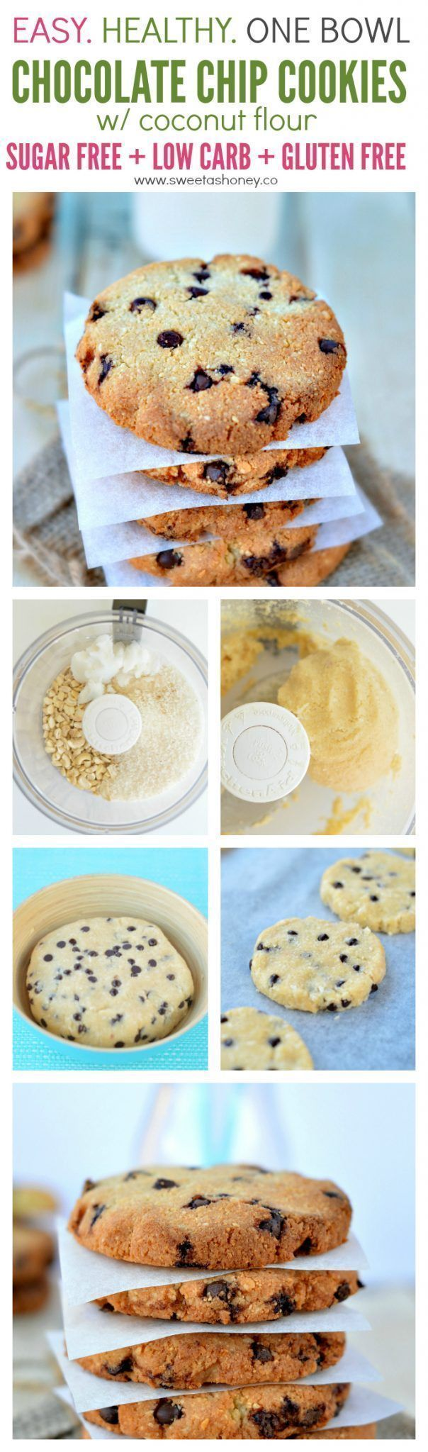 32 best sugar free meals images on pinterest vegan recipes no delicious sugar free chocolate chip cookies with coconut flour and stevia healthy gluten free easy food processor recipe perfect for diabetic forumfinder Choice Image