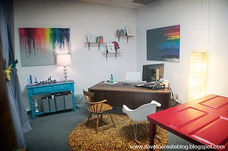 mid-century-color-inspired-office-decor-sm by ilovetocreate, via Flickr: Rainbows Inspiration, Inspiration Offices, Mid Century Rainbows, Midcentury Rainbows, Kristin Midcentury, Awesome Offices
