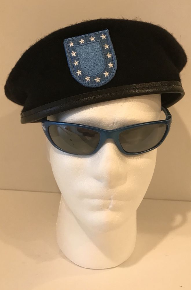 Great Looking Black Wool US Army Beret with Blue Flash, size 7-3/4. Ready to wear, great deal! | eBay!